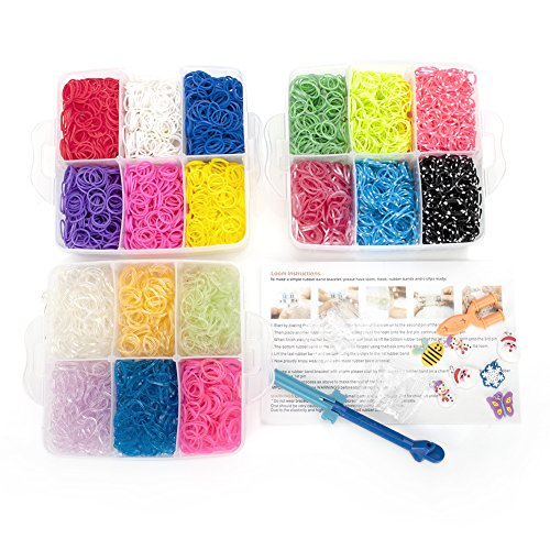 Knitting Kit Refill (GOGO Rainbow Rubber Bands Refill Set Loom Bands Kit 3600 Rubber Bands 50 Clips 5 Charms 1 loom tool)