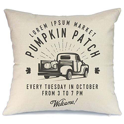AENEY Fall Truck and Pumpkin Patch Throw Pillow Cover 18 x 18 for Couch Vintage Fall Decorations Farmhouse Home Decor Autumn Thanksgiving Decorative Pillowcase Faux Linen Square Cushion Case for Sofa