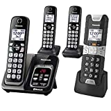 Panasonic Rugged Link2Cell Bluetooth Cordless Phone with Voice Assist, One-Touch Call Block and Answering Machine - 3 Standard Handsets + 1 Rugged Handset - KX-TGD584M2 (Black)