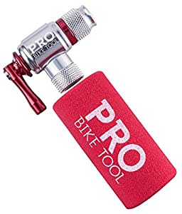 CO2 Inflator By Pro Bike Tool, Quick & Easy, Presta and Schrader Valve Compatible, Bicycle Tire Pump For Road and Mountain Bikes, Insulated Sleeve, No CO2 Cartridges Included
