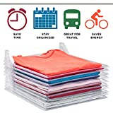Tee Shirt Organizer Clothing Dividers - 10 Pack Stackable T Shirt, Document Organizer, Clothes Storage Travel Holders Organizers for Closet Organization -Pull Out Tshirts Without Messing Other Clothes