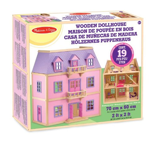 Melissa & Doug Casa de munecas de madera de varios pisos
