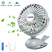 APUPPY Battery Operated Clip Fan, Portable Battery Powered Quiet Desk Fan with 5 Blades Cute Whale Design for Baby Stroller Office Trave (Gray,6inch)