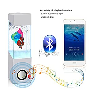 HOPESOOKY Wireless Colorful Night Light Fish Dancing Water Speakers for iPhone iPad Cellphone PC All 3.5mm Audio Player White