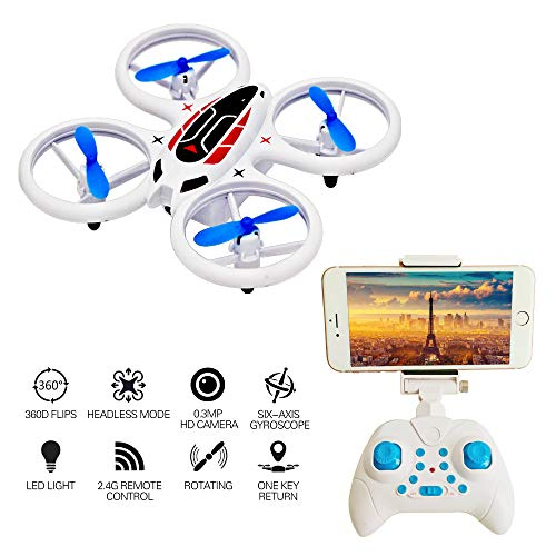 Mini Drone with Camera for Kids and Beginners,Quadcopter Drones 0.3MP HD WiFi Camera, LED UAV Lights, APP Control Drone Altitude Hold Headless Mode 4ch 2.4GHz rc Helicopter Toy Easy Fly for Training