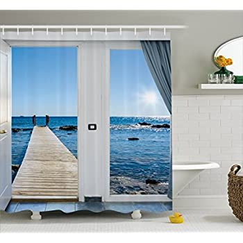 Ambesonne Beach Theme Decor Shower Curtain Coastal Ocean Sea Sunny Scenery With Patio From Window Fabric Bathroom Set Hooks 70 Inches