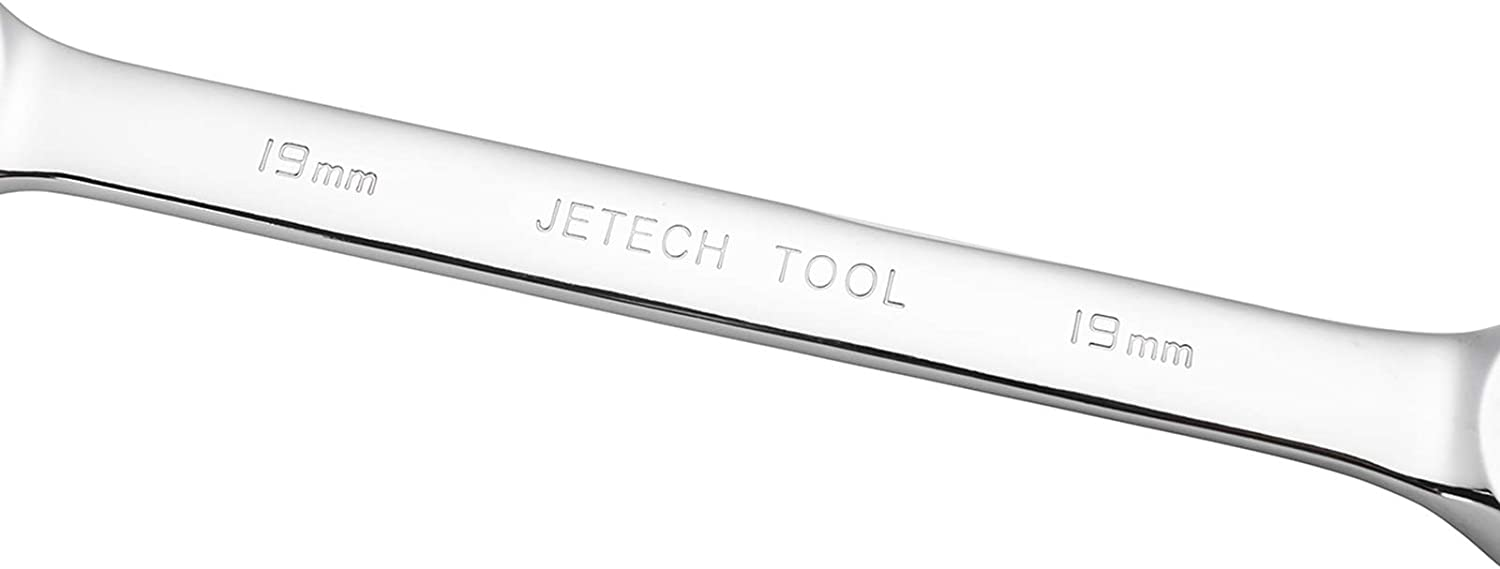 Jetech 21mm Ratcheting Combination Wrench Metric Industrial Grade Cr-V Steel Gear Spanner in Polished Chrome Finish