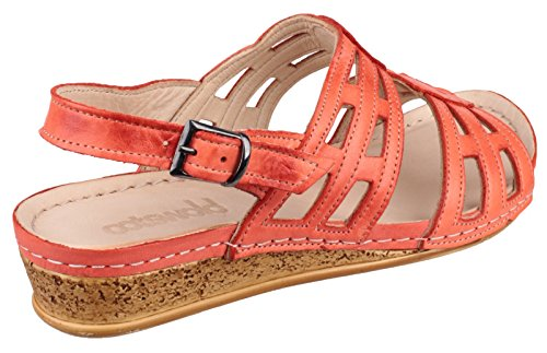 Cotswold Ladies Guiting Coral Leather Strappy Low Wedge Sandal Orange v7ezwaYkDr