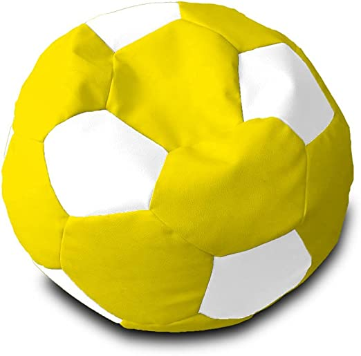 Puff Pelota Polipiel XL Ø90cm (Amarillo y Blanco): Amazon.es: Hogar