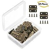 #3: Aneco 50 Pieces Antique Bronze Mini Hinges Retro Butt Hinges with 200 Pieces Replacement Hinge Screws, with Plastic Contain Box