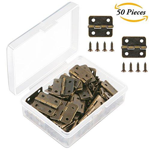 Brass Butt Hinge (Aneco 50 Pieces Antique Bronze Mini Hinges Retro Butt Hinges with 200 Pieces Replacement Hinge Screws, with Plastic Contain Box)