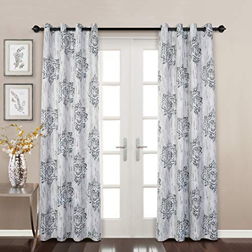 MYSKY HOME Dahlia Flower Damask Style Fashion Design Print Thermal Insulated Blackout Curtain with Grommet Top for Dining Room, 52 x 95 inch, Blue - 1 Panel (Blackout Pretty Curtains)