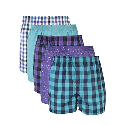 Cotton Woven Boxers (Gildan Men's Woven Boxer Underwear, Purple, Medium 5 Pack)