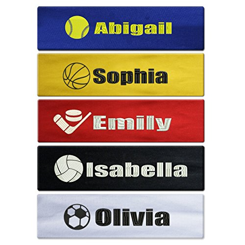 Caramel Custom Personalized Sport Cotton Stretch Headband Embroidered with Your Text -