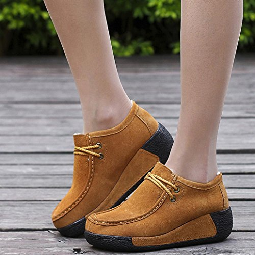 Warm Boots Binmer(TM) Womens Casual Winter Warm Shoes Leather Lace-up Flats Platform Shoes Brown an7XPRaQ