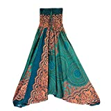 Harem Pants Women's Hippie Bohemian Yoga Pants One Size Aladdin Harem Hippie Pants Jumpsuit Smocked Waist 2 in 1 (Free, Green)