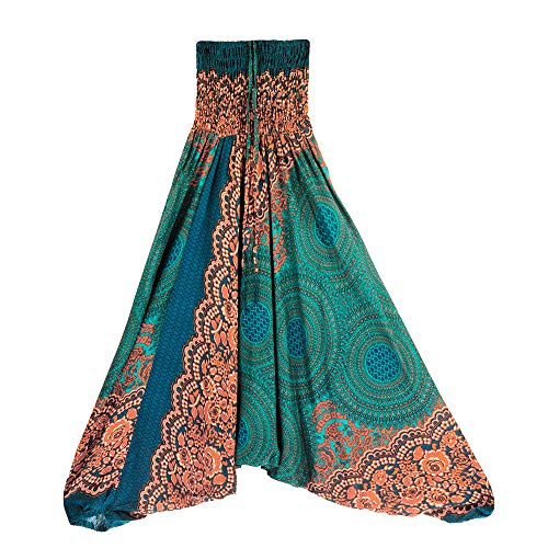 Harem Pants Women's Hippie Bohemian Yoga Pants One Size Aladdin Harem Hippie Pants Jumpsuit Smocked Waist 2 in 1 (Free, Green) by BingYELH Yoga (Image #6)