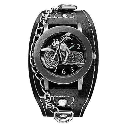 (Wenini Retro Quartz Watch for Men and Women Unisex Handsome Cool Retro Chain Can Be Flipped Belt Quartz Watch (Motorcycle Style))