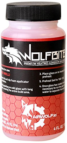 Airwolf 3D A09804 Wolfbite Premium Heatbed Adhesion Solution for ABS, 4 oz. (Airwolf 3d Printer)