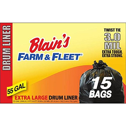 Blains Farm   Fleet 55 Gallon 3 0 Mil Drum Liner With Twist Ties