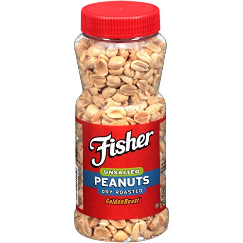 (FISHER Snack Unsalted Dry Roasted Peanuts, Golden Roast, 14 oz)