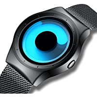 KDM Mens Black Watches Men Waterproof Unique Design Cool Wrist Watch Stainless Steel Mesh Watch for Men Blue