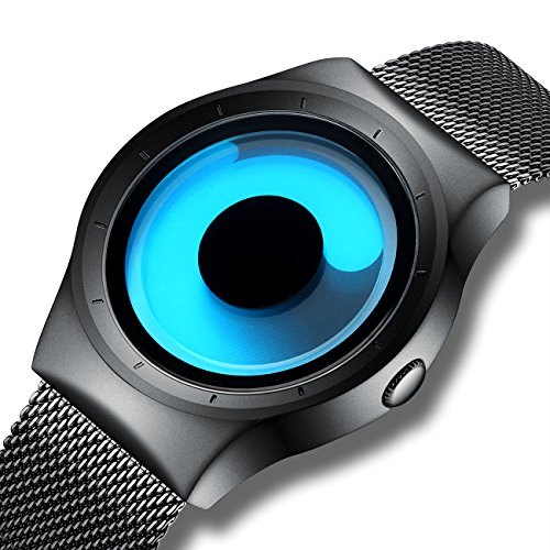 - KDM Mens Black Watches Men Waterproof Unique Design Cool Wrist Watch Stainless Steel Mesh Watch for Men Blue