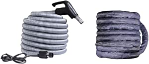 OVO ACCHO-40HV-COV Universal Central Vacuum 40ft High Voltage Switch at The Handle-Crushproof-Fits Most Inlets-Hose Protector Cover Included, Black and Grey