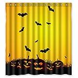 66''(W) x 72''(H) 100% Polyester Halloween Pumpkin Lamp and bat Waterproof Bath Curtain