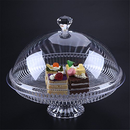 Cake Stand Multifunctional Serving Platter and Cake Plate with Dome (25cm)
