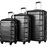 FLIEKS Luggages 3 Piece Luggage Set Spinner Suitcase (Black)