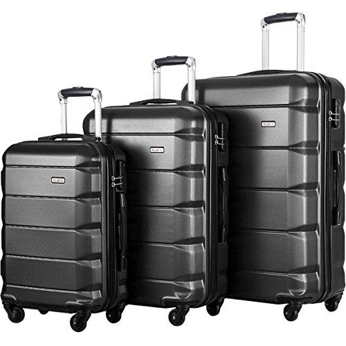 FLIEKS Luggages 3 Piece Luggage Set Spinner Suitcase (Black)