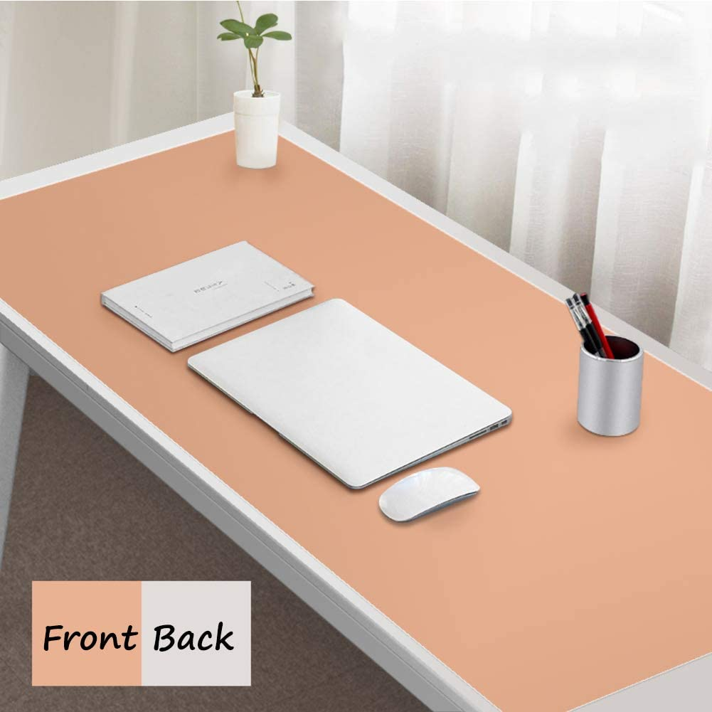 Ultra Thin Waterproof PU Leather Mouse Pad,Not-slip Computer Desk Mat Blotter Laptop Keyboard Pad,Multifunctional Desk Writing Mat-wine Red+yellow 100x50cm Dual Sided Office Desk Pad 39x20inch