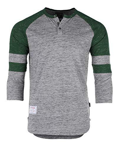 ZIMEGO Men's 3/4 Sleeve Baseball Football College Raglan Henley Athletic T Shirt Grey Green