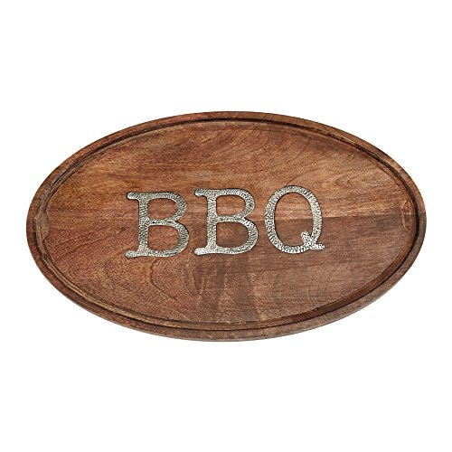 Mud Pie 4751114 Wood Carving Serving Board Barbecue, Brown