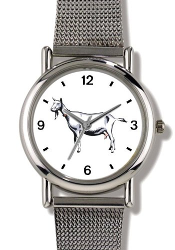 Billy Goat Animal - WATCHBUDDY® ELITE Chrome-Plated Metal Alloy Watch with Metal Mesh Strap-Size-Small ( Children's Size - Boy's Size & Girl's Size )
