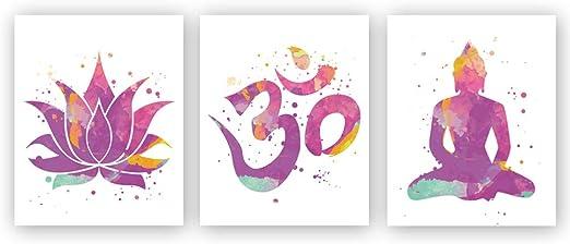 Amazon.com: Minimalist Yoga Art Painting, Lotus Flower, Om Symbol, Seated  Buddha Cardstock Art Print Watercolor Poster Yoga Studio Wall Art Home  Decor (Set of 3, 8'' x 10'', Unframed): Posters & Prints