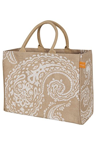 KAF Home Jute Market Tote Bag with White Paisley Print, Durable Handle, Reinforced Bottom and Interior Zipper Pocket, Generous capacity, 12.5