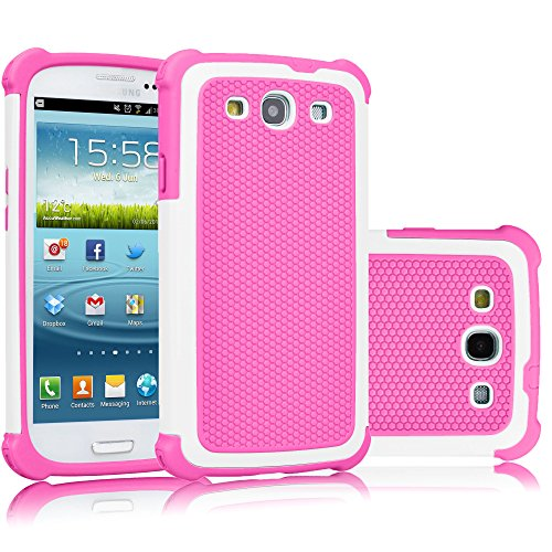 Galaxy S3 Case, Tekcoo(TM) [Tmajor Series] [Baby Pink] Shock Absorbing Hybrid Rubber Plastic Impact Defender Rugged Slim Hard Case Cover Shell For Samsung Galaxy S3 S III I9300 GS3 All Carriers
