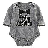 Newborn Baby Boys Girls Bowtie Short Sleeve Romper Bodysuit Playsuit Outfits (0-3 Months, Gray-)