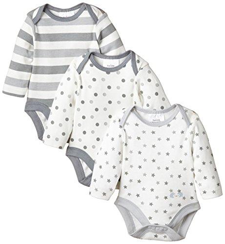 Twins Unisex Baby - Langarm-Body im 3er Pack, Mehrfarbig, Gr. 86, grau (hellgrau)