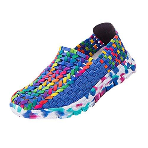 レディースカジュアルスポーツ靴ファッションカラフルWoven Flats通気性浅い口Lazy Slip Resistant快適靴