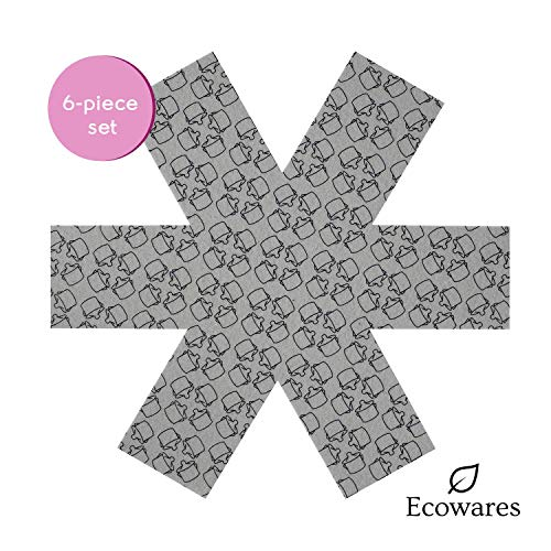 Pot & Pan Protectors - Set of 6 by Ecowares - Thick & Large 16 Inches Wide - Gray Print - Luxury Divider Pads to Prevent Scratching, Separate and Protect Surfaces of Your Cookware - for Home and RV