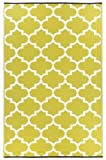 Fab Habitat Tangier Recycled Plastic Rug,  Celery & White, (4' x 6')