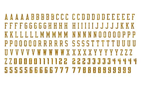 2 cm Tall CHBO Glitter, Glow in Dark, Reflective, Metallic, Hologram, Matte PU Vinyl Iron-on Letters Numbers for Clothing, 5pcs of Each of 26 Letters and 10 Digits (Gold Glitter) -