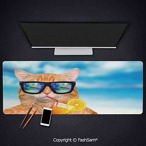(Desk Gaming Mouse Pad Non-Slip Cat Wearing Sunglasses Relaxing Cocktail in The Sea Background Summer Kitty Image Keyboard Pad for Office Desktop(W35.4xL15.7))