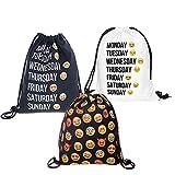 Dimayar Emoji Backpack 3 Pack, Emojis Drawstring Backpack Sackpack Shoulder Bag