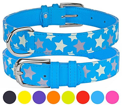 CollarDirect Reflective Dog Collar 8 Colors, Leather Safety Collars for Dogs Glow in The Dark Puppy Small Medium Large, Comfortable and Durable (Neck Fit 19