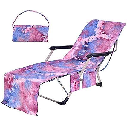 Pleasant Flora Huxley Tie Dye Beach Chair Cover Lounge Chair Towel Cover With Side Pockets Purple Creativecarmelina Interior Chair Design Creativecarmelinacom