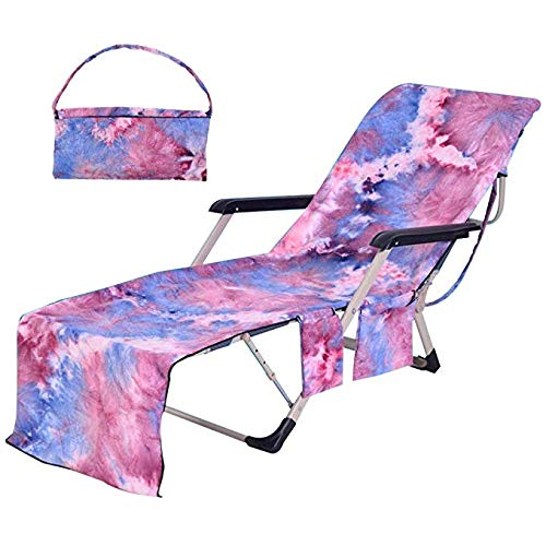 Flora Huxley Tie-dye Beach Chair Cover, Lounge Chair Towel Cover with Side Pockets,Purple (Beach Lounge Cabana)